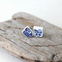 Blue ceramic earings - lightweight studs - upcycled sea pottery jewellery