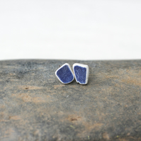Kinfolk pottery earings - tiny navy blue studs -  upcycled ceramic jewellery