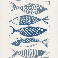 Fish Linoprint, handprinted relief print, A5