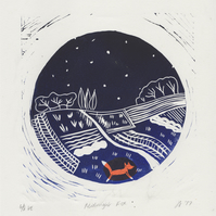 Midnight Fox - Unframed A4 linocut print. An original design by Design Smith