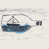 Ship in a Bottle - Unframed A4 linocut print. An original design by Design Smith