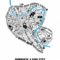 Norwich Typographic Map - limited edition, mounted screen print