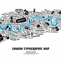 London Typographic Map - limited edition, mounted screen print
