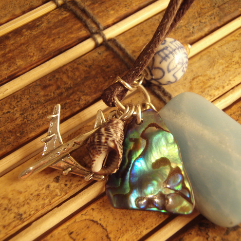 amazonite, shell and plane charm necklace