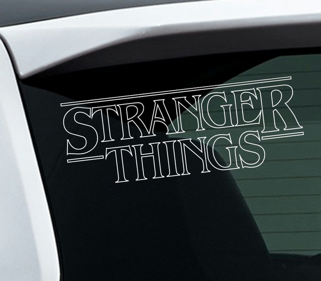 Stranger Things Vinyl Sticker in White for Indoor and Outdoor use