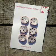 Handmade ceramic Dotty Buttons (x6)