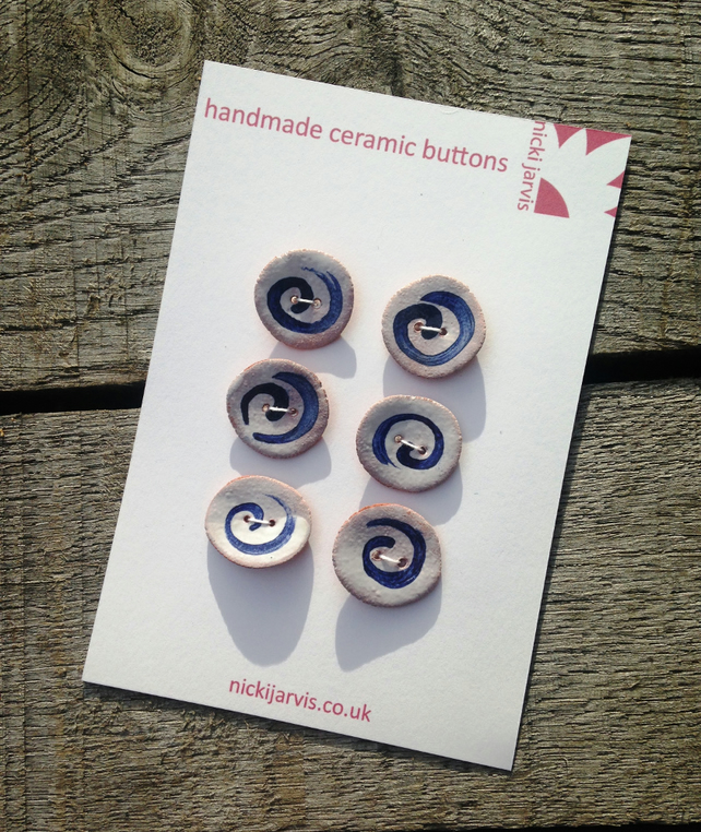 Contemporary ceramic Spiral Buttons
