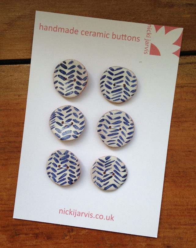 Herringbone buttons - pack of 6