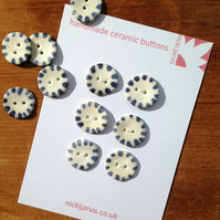 Sun Stripe buttons in stoneware