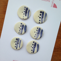 Dot and Stripe buttons in stoneware