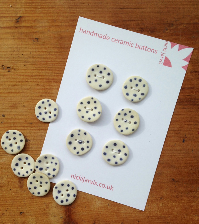 Dotty buttons in stoneware