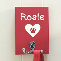 Dog Lead Holder - Personalised - Heart and Paw - Colour Options - Gift Wrapped