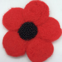 Needle Felted Traditional Red Poppy Brooch