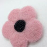 Needle Felted Pink Poppy Brooch