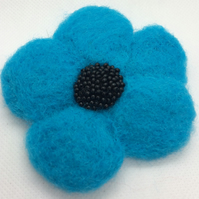 Needle Felted Turquoise Poppy Brooch
