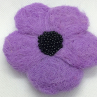 Needle Felted Lilac Poppy Brooch