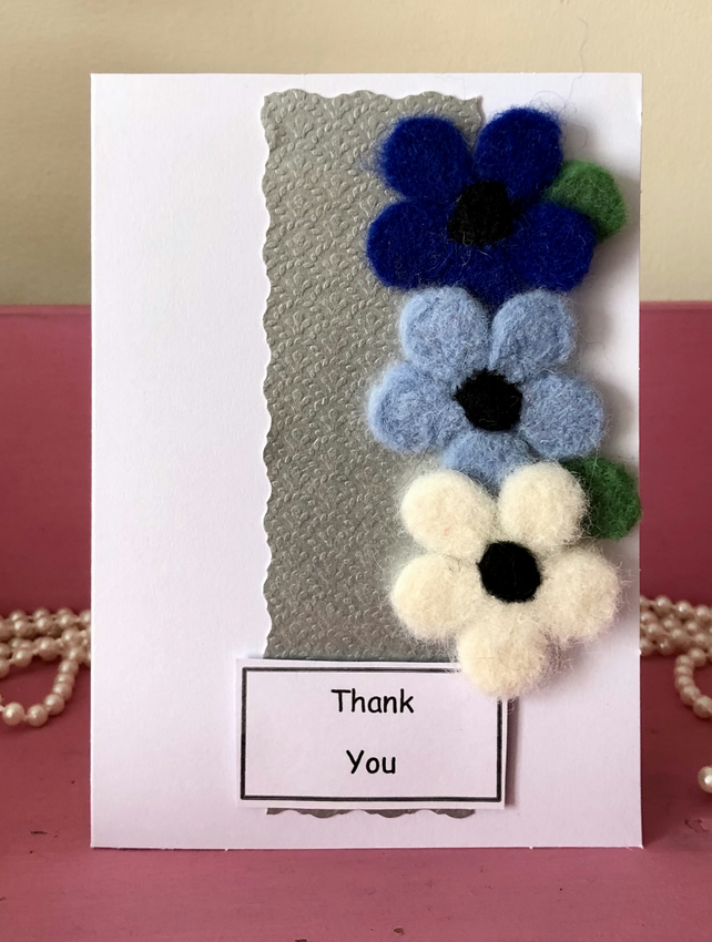 Needle Felted Flower Greetings Card with Personalisation