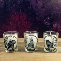 Set of 3 Small Candle Holders - Hare, Raven, Black Cat Illustrations, Botanical