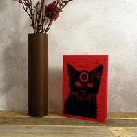 Witch's Black Cat, Alternative Greeting Card, Lino print, Red, Black, A6 Print