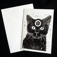 Witch's Black Cat, Alternative Greeting Card, Lino print, Black, White, A6 Print
