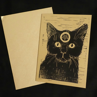 Witch's Black Cat, Alternative Greeting Card, Lino print, Black, Gold, A6 Print