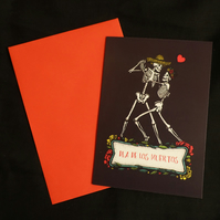 Day of the Dead, Dia de los muertos, Dancing Skeletons, A6 Greeting Card
