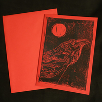 Raven and Moon alternative greeting card, lino print, Red and Black, A6 Print