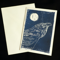 Raven and Moon alternative greeting card, lino print, Blue and White, A6 Print