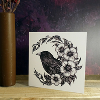 Raven, Crow, Illustration, Square Greeting Card, Botanical, Gothic, Wicca