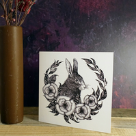 Hare, Rabbit, Illustration, Square Greeting Card, Botanical, Gothic, Wicca