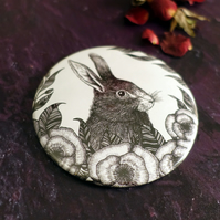 Hare, Rabbit Illustration, Pocket Mirror, Botanical, Gothic, Wicca, Alternative