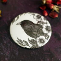 Raven, Crow Illustration, Pocket Mirror, Botanical, Gothic, Wicca, Alternative