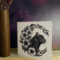 Black Cat Illustration, Square Greeting Card, Botanical, Gothic, Wicca