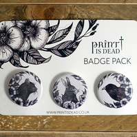 Set of 3 Button Badges - Hare, Raven, Black Cat Illustrations, Botanical