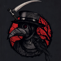 Plague Doctor Black and Red Illustration, Dark Art, Horror, A3 Art Print