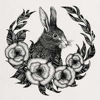 Hare, Rabbit, Illustration, Square Art Print, Botanical, Gothic, Wicca