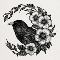 Raven, Crow, Illustration, Square Art Print, Botanical, Gothic, Wicca