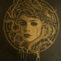 Medusa Black and Gold Risograph Art Print, Greek Mythology, A3