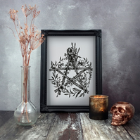 Pentagram Print, Pentacle, Gothic Home Decor, Wicca, Witchcraft, Botanical