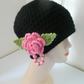 BLACK CHUNKY BEANIE  FLOWER ON SIDE