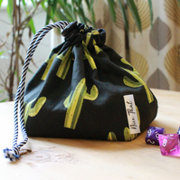 Dark Cactus Reversible Drawstring Dice Bag - For Gamers, Roleplayers and more.