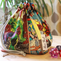 Marvel Comics Reversible Drawstring Dice Bag - For Gamers, Roleplayers and more.