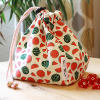 Watermelon Reversible Drawstring Dice Bag - For Gamers, Roleplayers and more.