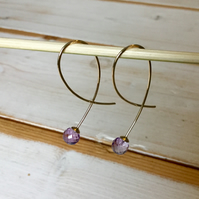 Yellow Gold Drop Earrings with Faceted Amethyst Beads, 9ct Yellow Gold Drops