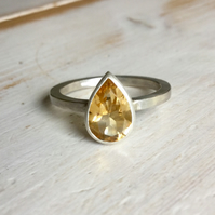 Citrine Pear Ring, Pear Cut Citrine Ring, Sterling Silver Ring with Citrine