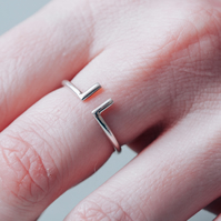 Adjustable Simple Silver Ring with Bars