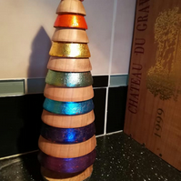 Cherry wood, silver and palladium rainbow tree