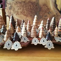 Five charming native British wood turned Christmas trees