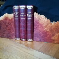 Red mallee burr bookends with stunning flame and feather grain