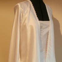 Ivory silk satin jacket with English lace trim